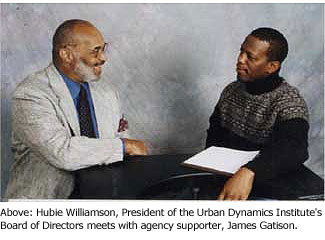 Hubie Williamson, President UDI Board of Directors with agency supporter, James Gatison